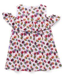 The KidShop Tasty Cupcakes Print Cold Shoulder Dress - Multi