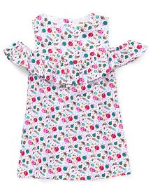 The KidShop Space Ship Print Cold Shoulder Dress - Multi
