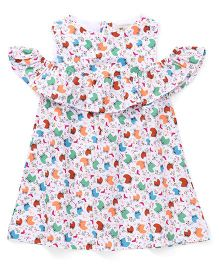 The KidShop Cute Baby Cart Print Cold Shoulder Dress - Multi