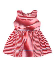 The KidShop Sassy Striped Collar Frock - Red