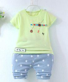 Pre Order - Superfie Summer Star Button Applique Tee & Shorts - Light Green