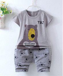 Pre Order - Superfie Teddy Printed Summer Tee & Shorts - Grey