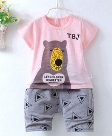 Pre Order - Superfie Teddy Printed Summer Tee & Shorts - Pink