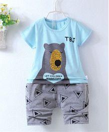 Pre Order - Superfie Teddy Printed Summer Tee & Shorts - Sky Blue