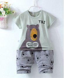 Pre Order - Superfie Teddy Printed Summer Tee & Shorts - Light Green