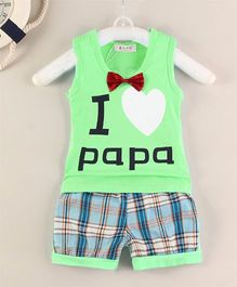 Pre Order - Superfie I Love Papa Printed Tee & Bottom - Green