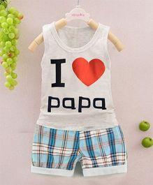 Pre Order - Superfie I Love Papa Printed Tee & Bottom - Grey