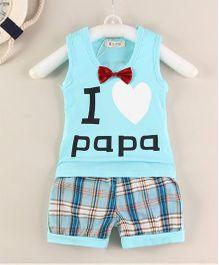 Pre Order - Superfie I Love Papa Printed Tee & Bottom - Sky Blue