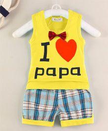 Pre Order - Superfie I Love Papa Printed Tee & Bottom - Yellow