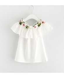 Superfie One Piece Dress With Flowers Applique On Neck - White