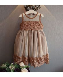 Pre Order - Superfie See Through Lace Dress - Brown