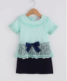 Pre Order - Superfie Peplum Lace Top With Skirt - Sky Blue