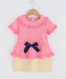 Pre Order - Superfie Peplum Lace Top With Skirt - Pink