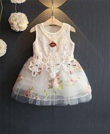 Pre Order - Superfie Lace Applique Printed Dress - White