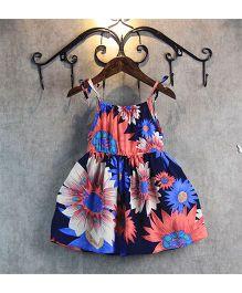 Pre Order - Superfie Summer Sunflower Printed Spaghetti Dress - Navy