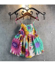 Pre Order - Superfie Summer Sunflower Printed Spaghetti Dress - Green