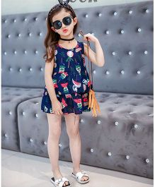 Pre Order - Superfie Mix Printed Tier Dress For Girls - Navy