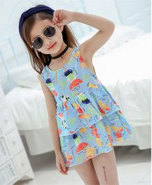 Pre Order - Superfie Mix Printed Tier Dress For Girls - Sky Blue
