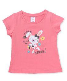 Smarty Half Sleeves Tee Rabbit Print - Light Pink