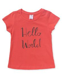 Smarty Half Sleeves Tee Hello World Print - Peach