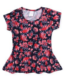Smarty  Short Sleeves Frock Floral Print - Multicolor