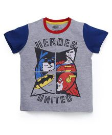 Eteenz Half Sleeves T-Shirt With Heroes United Print - Grey