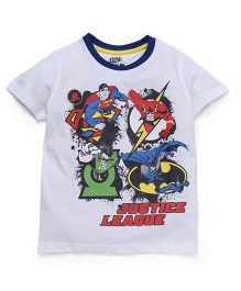 Eteenz Half Sleeves T-Shirt Justice League Print - White