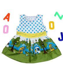 Aww Hunnie Polka Dots Gathered Dress - Blue