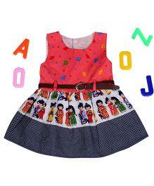 Aww Hunnie Hand Fan Printed Dress With Waist Belt - Red