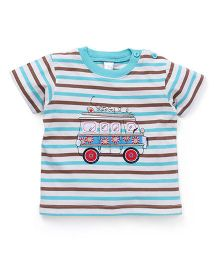 Baby Yi Vehicle Embroidered Tee - White Red & Blue