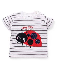 Baby Yi Lovely Little Ladybug Embroidered Tee - White