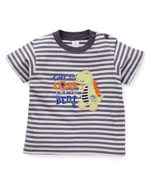 Baby Yi Penguin Print Crew Neck Tee - Dark Grey