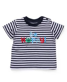Baby Yi Be Happy Embroidery Tee - White & Navy Blue