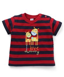 Baby Yi I Love Mummy Embroidered Tee - Red & Navy Blue