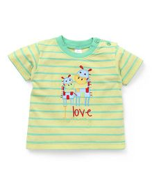 Baby Yi Striped Print I Love Mummy Embroidered Tee - Yellow