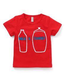 Baobaoshu Milk & Cookies Print Tee - Red