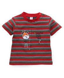 Baby Yi Tee With Giraffe Embroidery & Striped Print - Red & Green