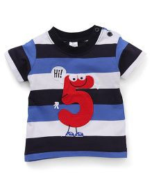 Baby Yi Adorable Hi 5 Applique Tee - Blue & White