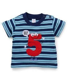 Baby Yi Striped Print Tee With Adorable Hi 5 Applique - Blue