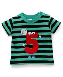 Baby Yi Striped Print Tee With Adorable Hi 5 Applique - Green & Navy Blue