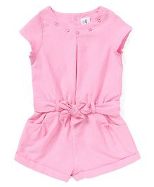 ToffyHouse Short Sleeves Corduroy Jumpsuit - Light Pink