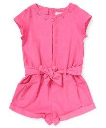 ToffyHouse Short Sleeves Corduroy Jumpsuit - Dark Pink