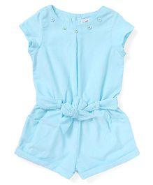 ToffyHouse Short Sleeves Corduroy Jumpsuit - Light Blue