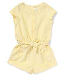 ToffyHouse Short Sleeves Corduroy Jumpsuit - Light Yellow