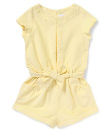 ToffyHouse Short Sleeves Corduroy Jumpsuit - Light Yellow