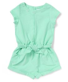 ToffyHouse Short Sleeves Corduroy Jumpsuit - Mint Green