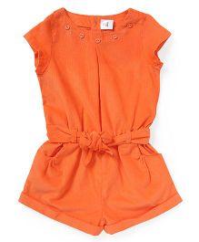 ToffyHouse Short Sleeves Corduroy Jumpsuit - Orange