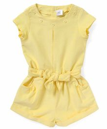 ToffyHouse Short Sleeves Corduroy Jumpsuit - Yellow