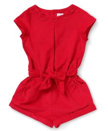 ToffyHouse Short Sleeves Corduroy Jumpsuit - Red