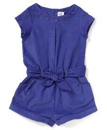 ToffyHouse Short Sleeves Corduroy Jumpsuit - Dark Blue